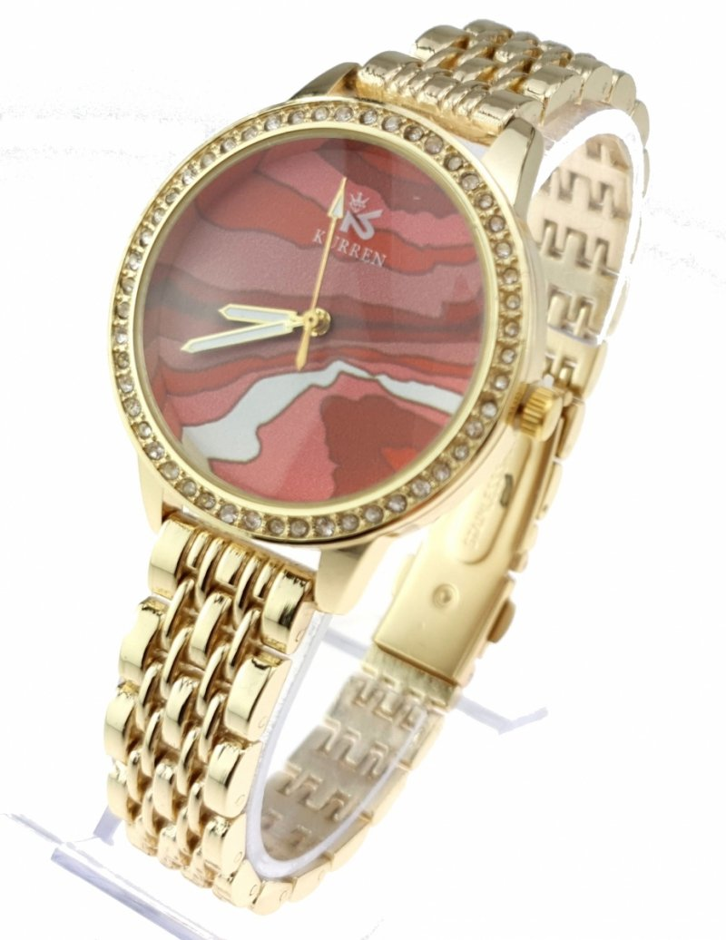 3316 Ekskluzywny damski złoty zegarek Kurren klasyk