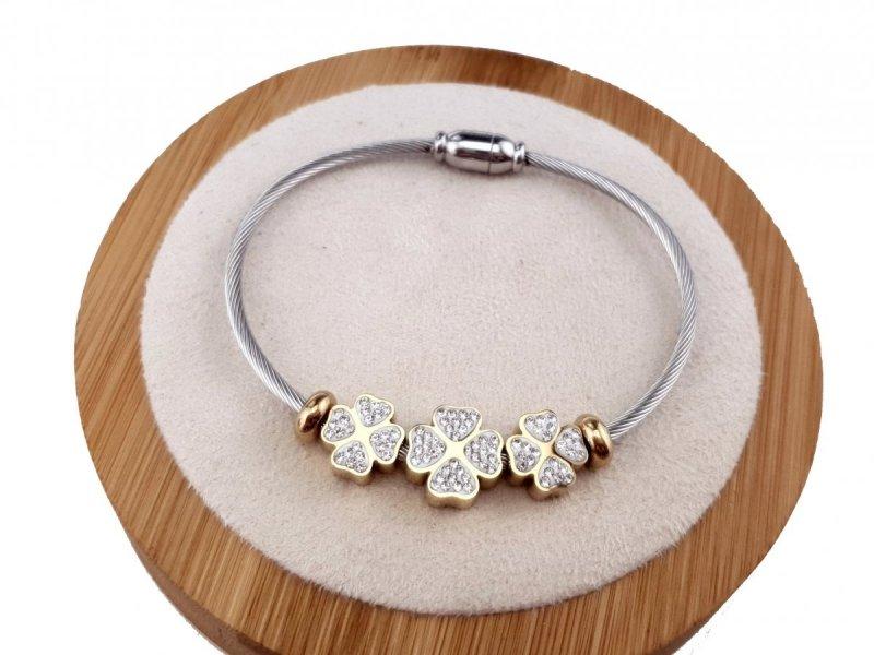 1092a Bransoletka srebrna złota celebrytka stal chirurgiczna Blueberry