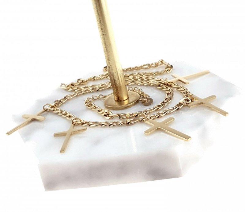 2273 Złoty łańcuszek celebrytka 46cm naszyjnik stal chirurgiczna