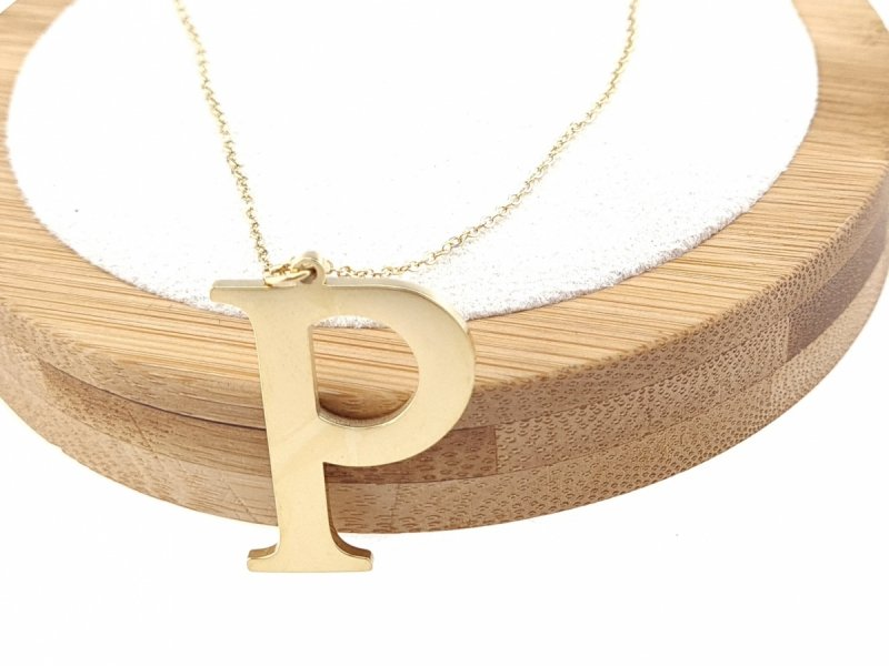 1687 Złoty łańcuszek celebrytka naszyjnik literka P stal chirurgiczna