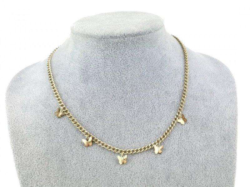 3589 Złoty łańcuszek celebrytka naszyjnik stal chirurgiczna