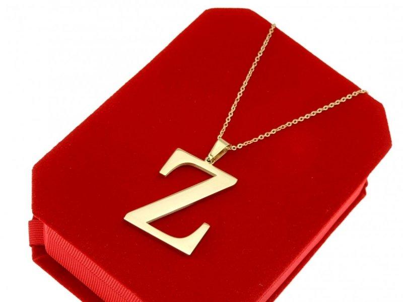 070 Złoty łańcuszek celebrytka naszyjnik literka Z stal chirurgiczna