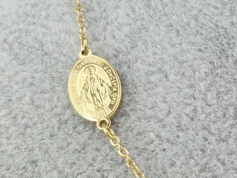 655 Złoty łańcuszek celebrytka naszyjnik różaniec stal chirurgiczna