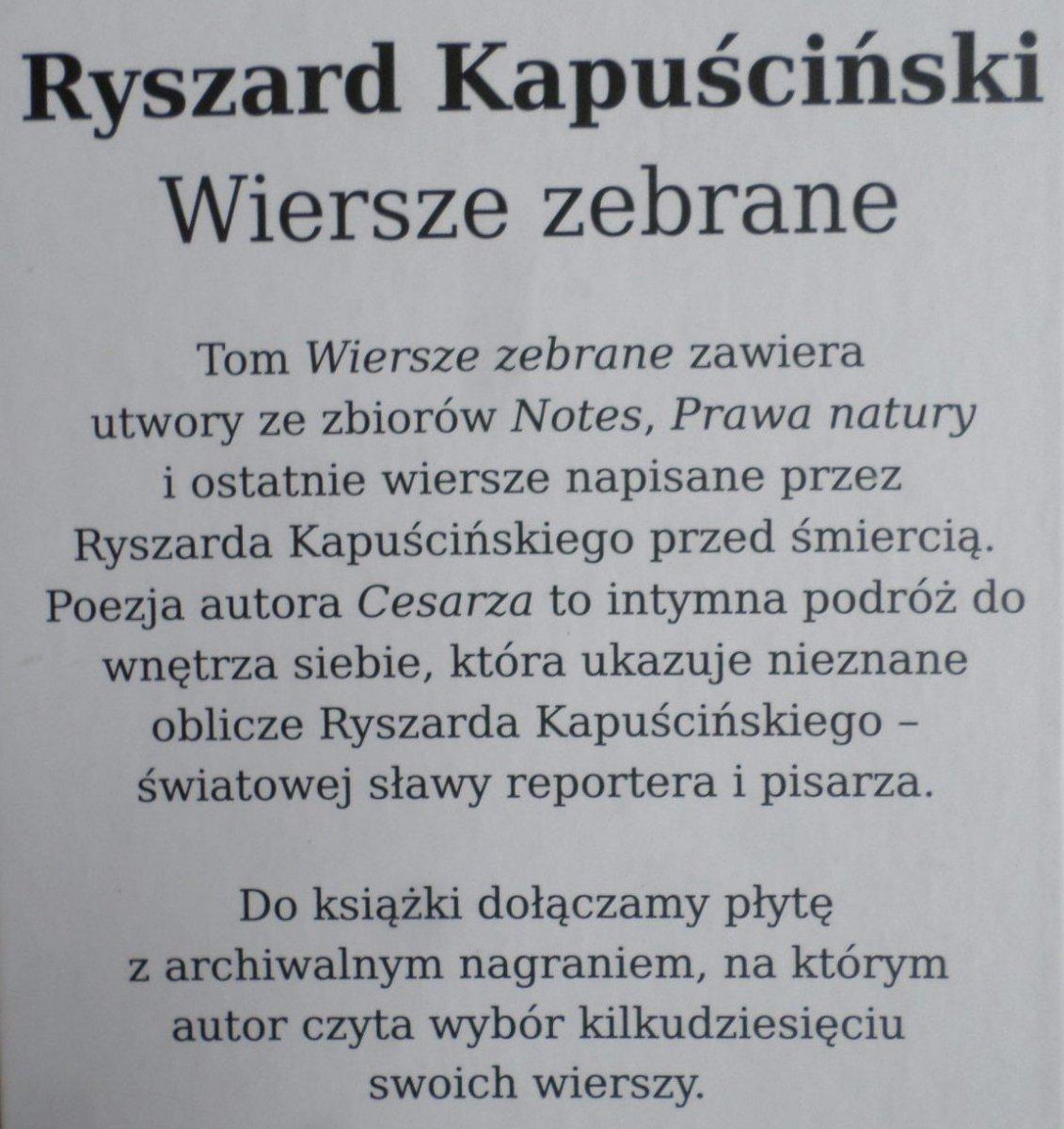 Ryszard Kapuściński Wiersze Zebrane Z Płytą Cd