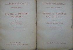 Franciszek Siedlecki • Studia z metryki polskiej [komplet] [dedykacja autora dla Jerzy Kuryłowicz]