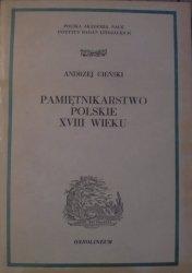 Andrzej Cieński • Pamiętnikarstwo polskie XVIII wieku