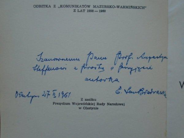 Emilia Sukertowa-Biedrawina • Bibliografia Mazur i Warmii w okresie dziesięciolecia 1945-1955 [dedykacja autorska]