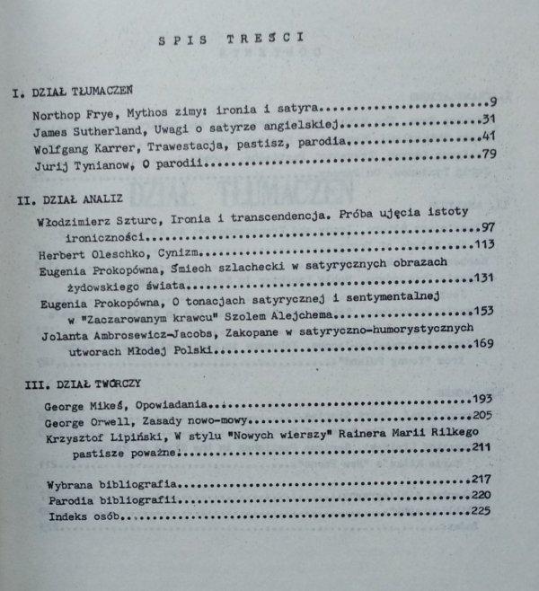 Studenckie Zeszyty Polonistyczne • Ironia, parodia, satyra [Northrop Frye, Włodzimierz Szturc, George Orwell]