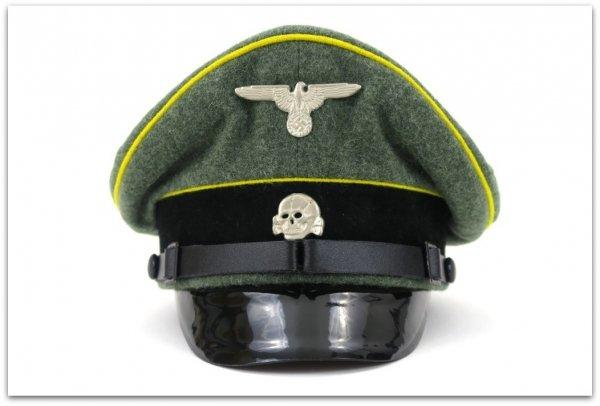 MC007 CZAPKA PODOFICERSKA SCHIRMMUTZE KAWALERIA WAFFEN-SS - SUKNO