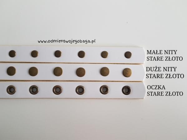 Pasek naramienny - Skóra, gładki, nitowany lub oczkowany