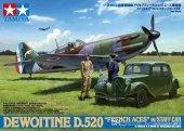 Tamiya 61109 Dewoitine D.520 French Aces - w/Staff Car (1:48)