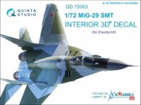 Quinta Studio QD72003 MiG-29 SMT 3D-Printed & coloured Interior on decal paper (for 7309 Zvezda kit)1/72