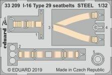 Eduard 33209 I-16 Type 29 seatbelts STEEL ICM 1/32