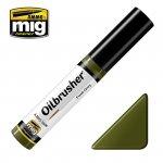 AMMO of Mig Jimenez 3506 Oilbrusher FIELD GREEN - farba olejna z pędzelkiem