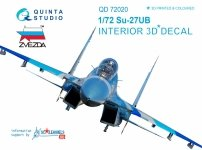 Quinta Studio QD48001 Yak-3 3D-Printed & coloured Interior on decal paper (for 4814 Zvezda kit) 1/48