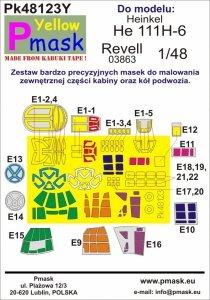P-Mask PK48123Y He 111H-6 (Revell 03863) Maski z żółtego materiału kabuki 1/48