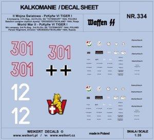 Weikert Decals DEC334 PzKpfw VI TIGER - Dywizja SS Totenkopf i Dywizja Grossdeutschland - 1944 - vol.3 1/35