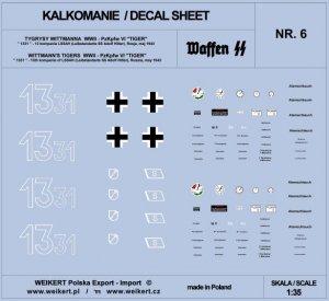 Weikert Decals DEC206 TIGER I - czołg 1331 - 13 kompania LSSAH, Rosja, maj 1943 - vol.6 1/35