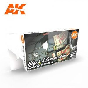 AK Interactive AK 11683 BLACK & CREAM WHITE VEHICLE INTERIORS  6x17 ml