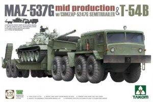 Takom 5013 MAZ-537G mid production with CHMZAP-5247G Semitrailer & T-54B 1/72