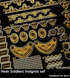 RADO Miniatures RDM16PE03 Heer Soldiers Insignia Set - Zestaw Fototrawiony 1/16