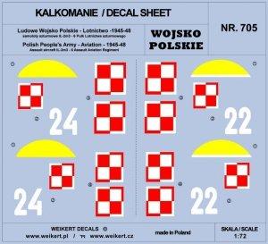 Weikert Decals DEC705 Wojsko Polskie - samoloty szturmowe Ił2M3 - 6 Pułk Lotnictwa Szturmowego 1/72