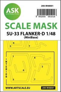 ASK M48001 Su-33 Flanker D double-sided painting mask for Minibase 1/48