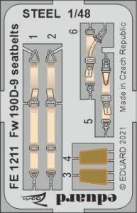Eduard FE1211 Fw 190D-9 seatbelts STEEL EDUARD 1/48