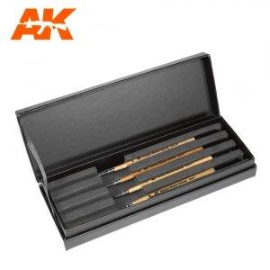 AK Interactive AKSK-10 PREMIUM SIBERIAN KOLINSKY BRUSHES DELUXE CASE