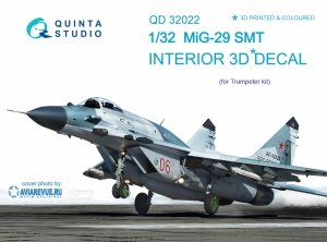 Quinta Studio QD32022 MiG-29SMT 3D-Printed & coloured Interior on decal paper (for Trumpeter kit) 1/32