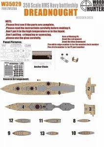 Wood Hunter W35029 Wood deck HMS Dreadnought for Zvezda 1/350