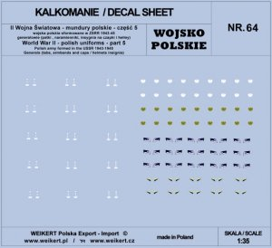 Weikert Decals DEC264 Mundury polskie - patki, naramienniki, insygnia na czapki i hełmy - cześć 5 - vol.64 1/35