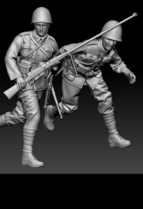 Glowel Miniatures 35014 Polish anti tank team running 1/35