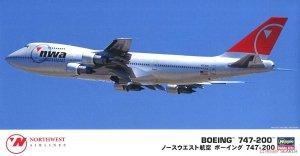 Hasegawa 10840 Northwest Airlines Boeing 747-200 1/200