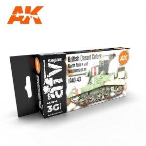 AK Interactive AK 11646 BRITISH DESERT COLORS NORTH AFRICA AND MEDITERRANEAN 1940-1943  6x17ml