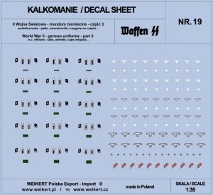 Weikert Decals DEC219 Mundury niemieckie - patki, naramienniki, insygnia na czapki - WAFFEN SS - ver.3 - vol.19 1/35