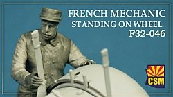Copper State Models F32-046 French mechanic on a wheel 1/32