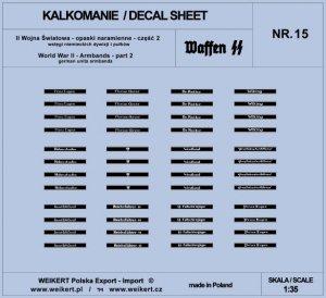 Weikert Decals DEC215 Opaski naramienne - wstęgi niemieckich dywizji i pułków ver.1 - vol.15 1/35