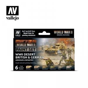 Vallejo 70208 WWII Desert British & German Armour & Infantry 6x17ml