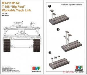 Rye Field Model 5009 M1A1/M1A2 T-158 Big Foot Workable Track Link 1/35