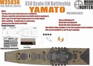Wood Hunter W35038 Wood deck IJN Yamato for Tamiya 78014 1/350
