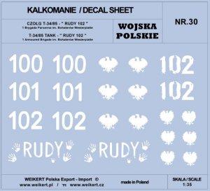 Weikert Decals DEC230 WOJSKO POLSKIE - CZOŁG T-34/85, RUDY 102 / 1 brygada pancerna 1/35