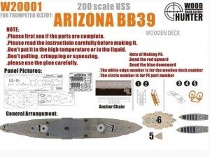 Wood Hunter W20001 USS Battleship Arizona BB-39 Wooden Deck (for Trumpeter kit 03701) 1/200