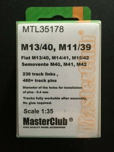 MasterClub MTL-35178 Tracks for M11/39, Fiat M13/40 M14/41 Semovente M40 M41 M42 1/35