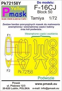 P-Mask PK72158Y F-16CJ Block 50 (Tamiya) Maski z żółtego materiału kabuki 1/72