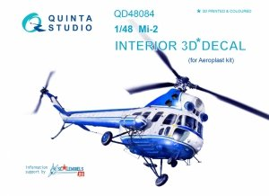 Quinta Studio QD48084 Mi-2 3D-Printed & coloured Interior on decal paper (for Aeroplast kit) 1/48