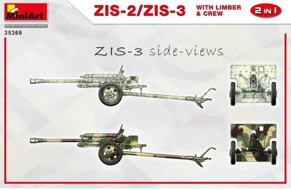 MiniArt 35369 ZiS-2/ZiS-3 with Limber & Crew 1/35