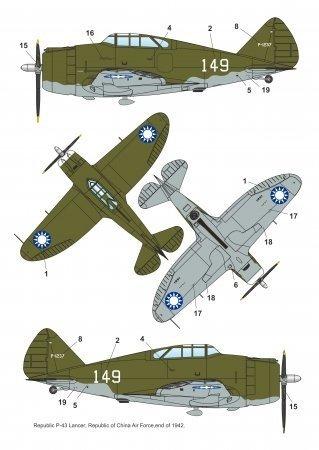 Dora Wings 48032 Republic P-43A-1 Lancer In China Skies 1/48