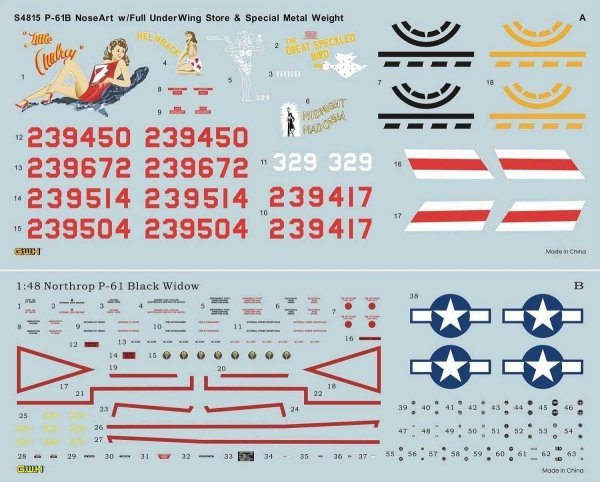 Great Wall Hobby S4815 P-61B Noseart & Weapons 1/48