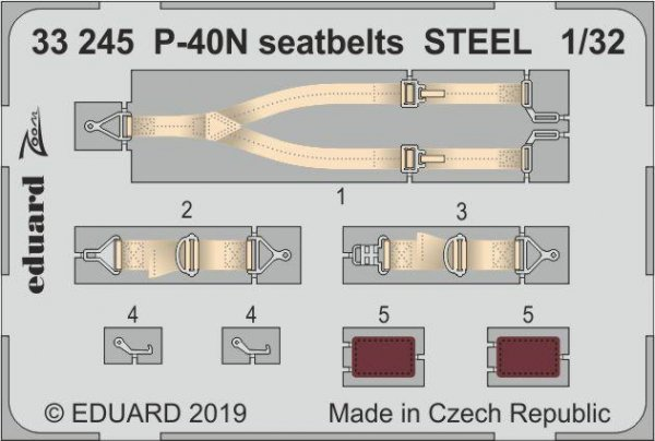 Eduard 33245 P-40N seatbelts STEEL 1/32 TRUMPETER